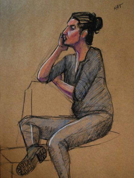 Nat, Seated, Leg Up
