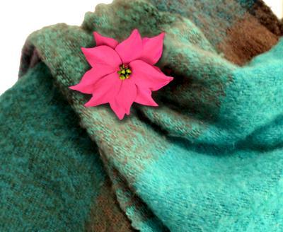 Poinsettia Pin for Shawl Wrap