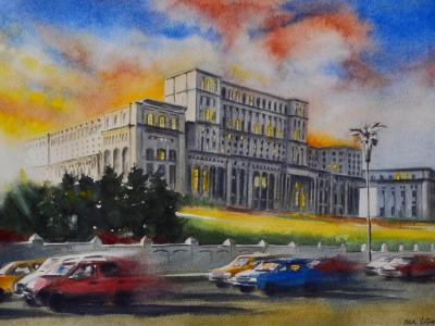 PALACE OF THE PARLIAMENT - Bucharest, 35cm x 50cm, 2019