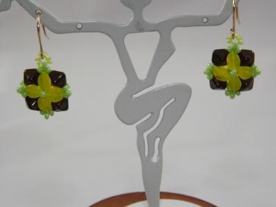 E-114 Yellow & Green Flower Earrings