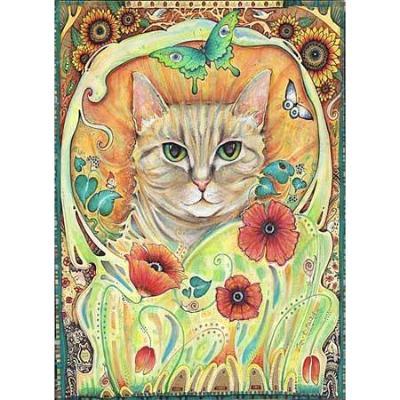 Poppy Cat Art Nouveau print from the original cat painting