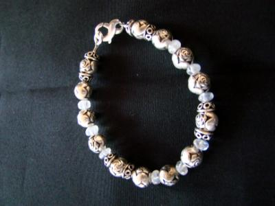 #4 sterling rose beads with pewter and crystal