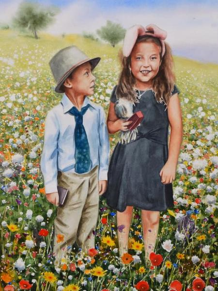 Custom watercolor portrait KIDS IN THE GARDEN, 35cm x 50cm, 2018