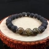 Carved Antique Soochow Jade and Lava Rock Diffuser Bracelet