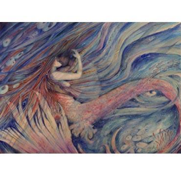 """Merrowkiss"" mermaid note card"
