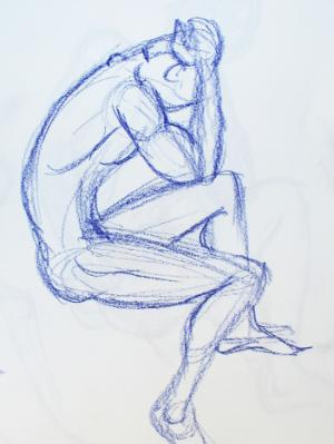 Nude Male, Seated, Side View