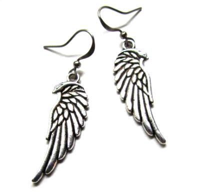 Angel wing silver toned dangle earrings wings angels charms for the ears