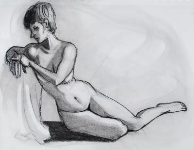 Nude, Leaning on Seat