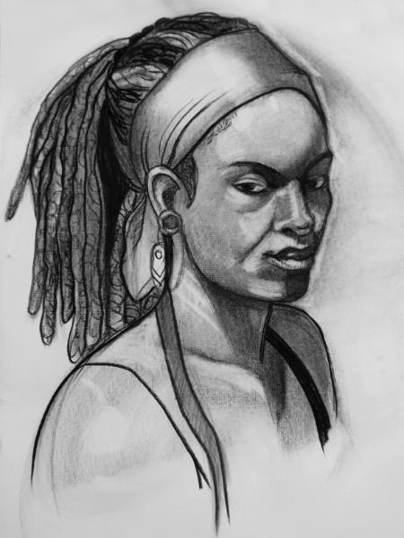 Inky, Charcoal Portrait