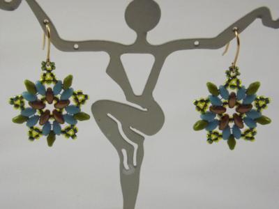 E-5 Olive, Turquoise, & Matte Gold Flower Earrings