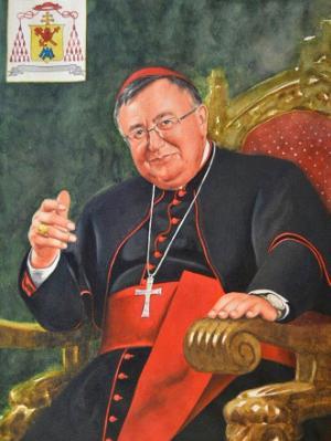 Watercolor portrait of the Bosnian Cardinal VINKO PULGIC, 80cm x 60cm, 2015