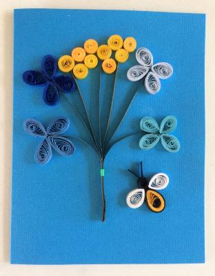 Blue Bouquet quilled greeting card