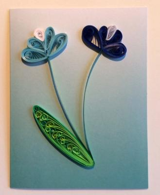The Pastel Series Blue Handmade Quiliing Greeting Card