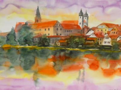 Very early in the morning in Telc - Czech Republic, 76cm x 56cm (WATERCOLOR DEMONSTRATION)