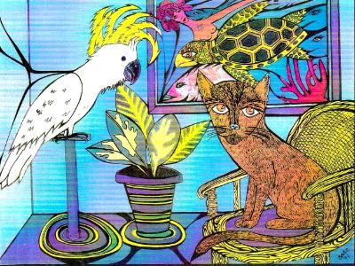 Cockatoo,  Cat & Turtle (sold)