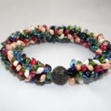 B-50 ivory, peach, red, green, light blue, & dark blue spikey bracelet