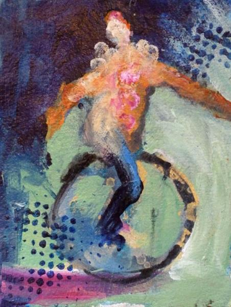 """Unicyclist On the Move ~ 5 """" x 7"""" in 11"""" x 14 """" Mat"""