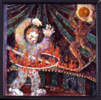 """CIRCUS FOR ADULTS 12X12"""" OIL ON BOARD"""
