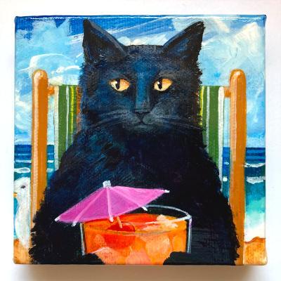 BLACK CAT WITH SUNRISE