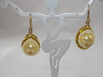 E-55 Pale Yellow Pearl & Bead Earrings