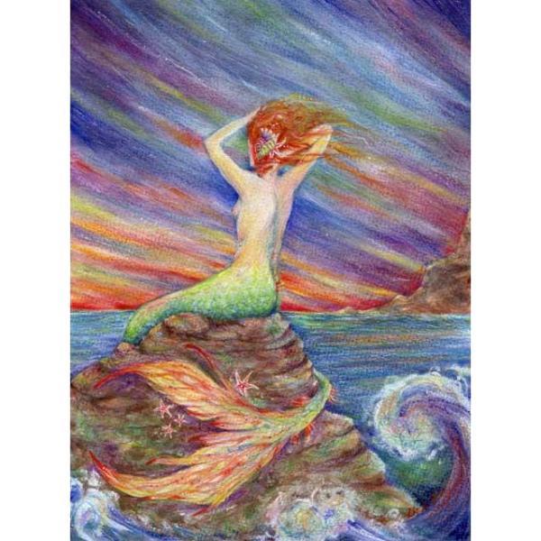 Mermaid Original Fantasy Painting in watercolor of a singing Siren and the Sea...