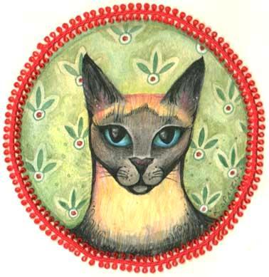 Siamese Cat original painting Siamese cat portrait