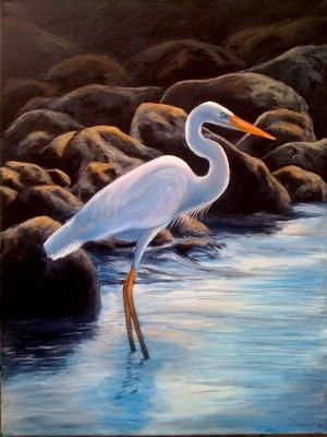 Heron 16x20 canvas in acrylic