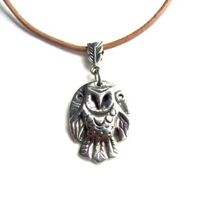 Owl pendant necklace barn owl pewter necklace original design by Liza Paizis