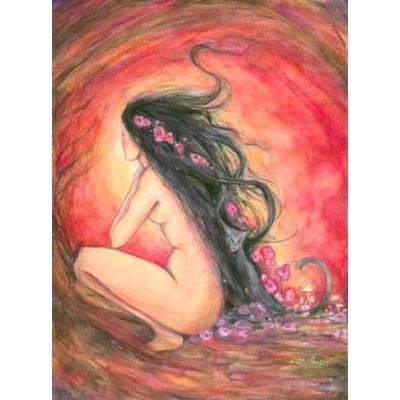Dusk Goddess Art Print from an original goddess painting with black cat