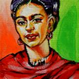 Frida with Red Scarf commission mini painting