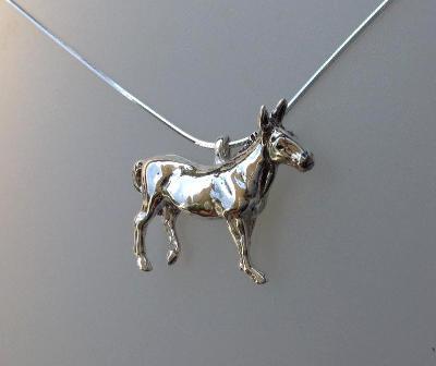 Donkey Pendant in Sterling Silver