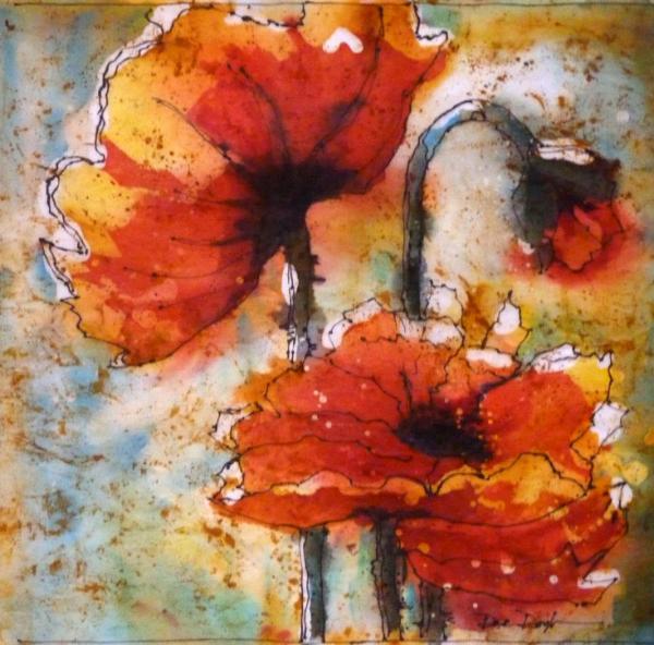 Poppies Watercolor Batik