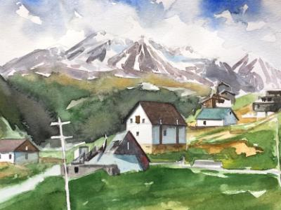 Plein air watercolor painting in Kasbegi-GEORGIA, 38cm x 28cm, 2019