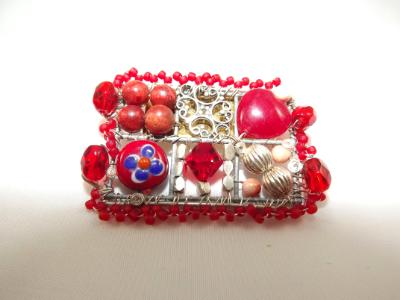 Red Mosaic Brooch