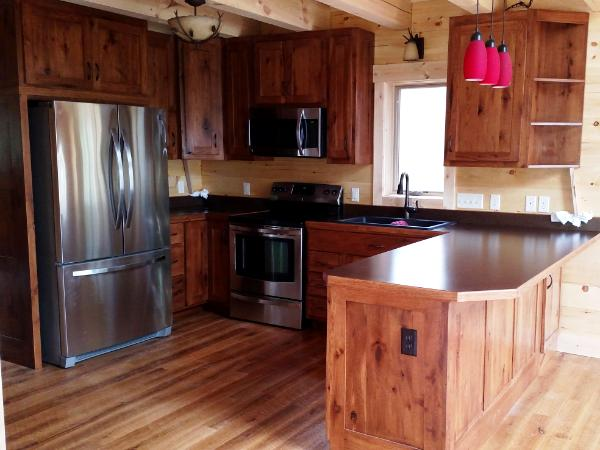 Stained Natural Rustic Hickory Cabinets - Unique Woods by ...