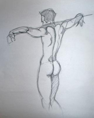 Standing Nude with Pole