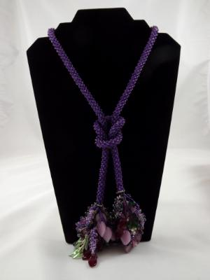 N-71 Purple Crocheted Tassel Rope Necklace