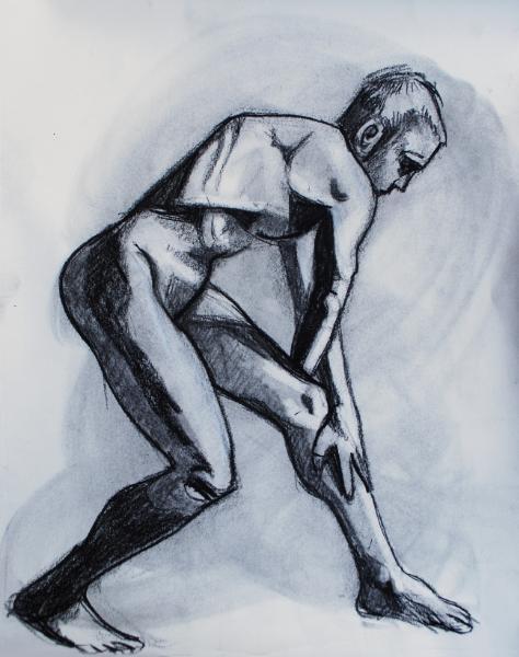 Male Nude, Bending