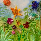 """Exotic Landscape with """"Glass"""" Flowers"""