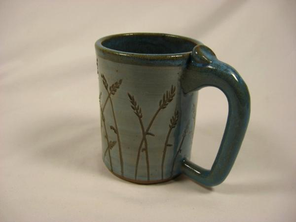 110416 C Mug With Wheat Carving Carl S Pottery