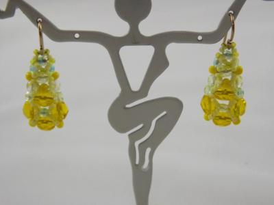 E-97 Yellow Pyramid Earrings