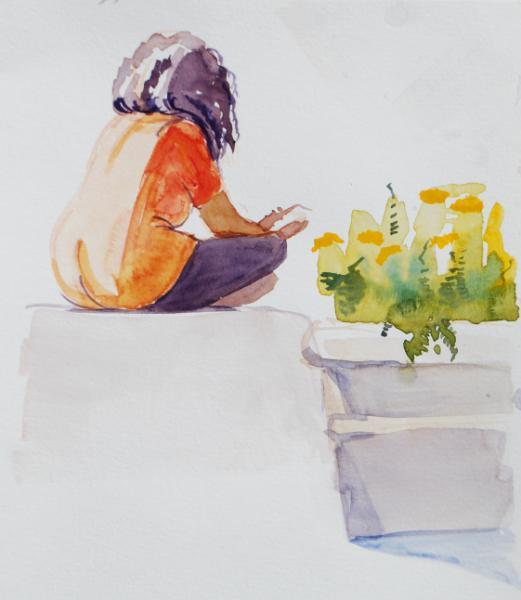Seated Girl in an Orange Tee