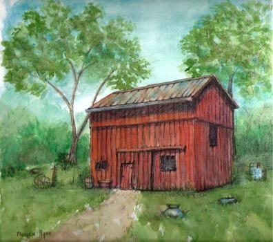 The Sweet's Barn water paper in watercolor