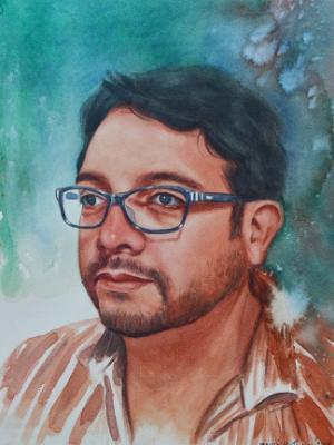 Custom watercolor portrait, 35cm x 50cm, 2018