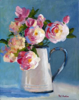 Roses in Enamel Pitcher - oil - 16x20