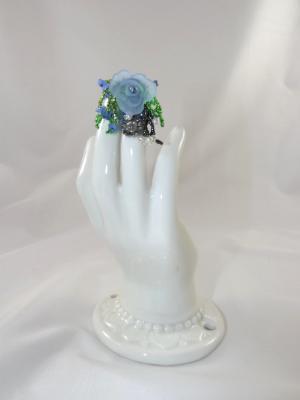 R-2 Blue Beaded Ring w/Blue Flower