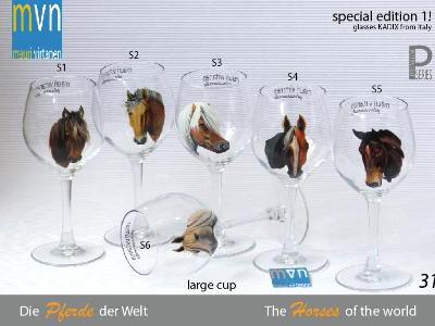 Set of handpainted glasses: A WORLD OF  HORSES