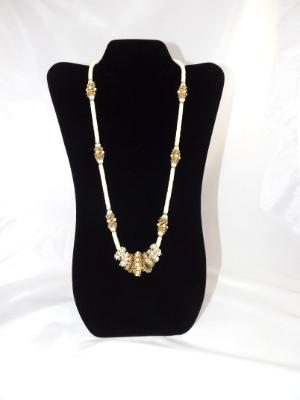 N-107 Ivory & Gold Beaded Necklace w/Beaded Rings