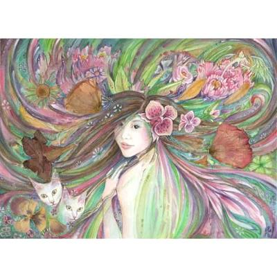 Spring Queen flower goddess art print with cats