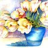 tulip in blow bowl - watercolor - 22x28